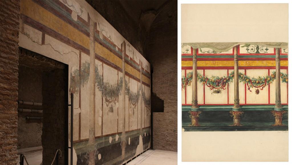 Livian talon koristeellista seinää. Vasemmalla näkymä nyt ja oikealla talon löytämisen aikaan tehty maalaus. Keltaisella pohjalla on ajan muodin mukaisia egyptiläisiä kuvioita.