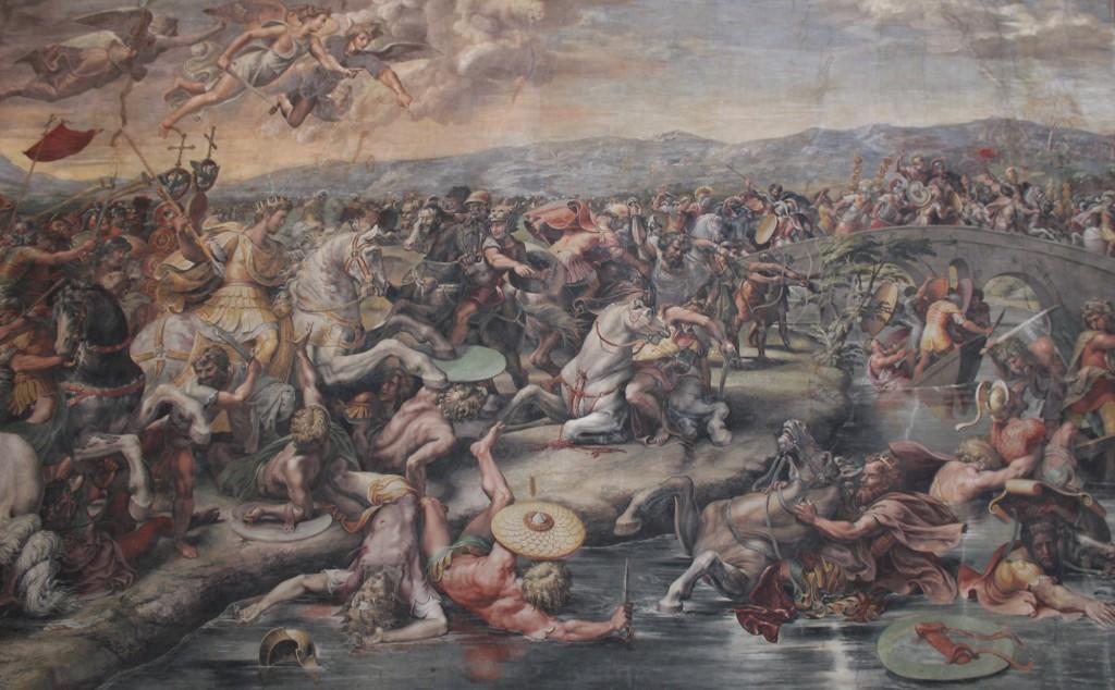 Rafaelin fresko Milviuksen taistelusta on Vatikaanissa Rafaelin saleissa. Kuvassa Maxentius hukkuu Tiberiin ja taustalla näkyy Milvion silta.