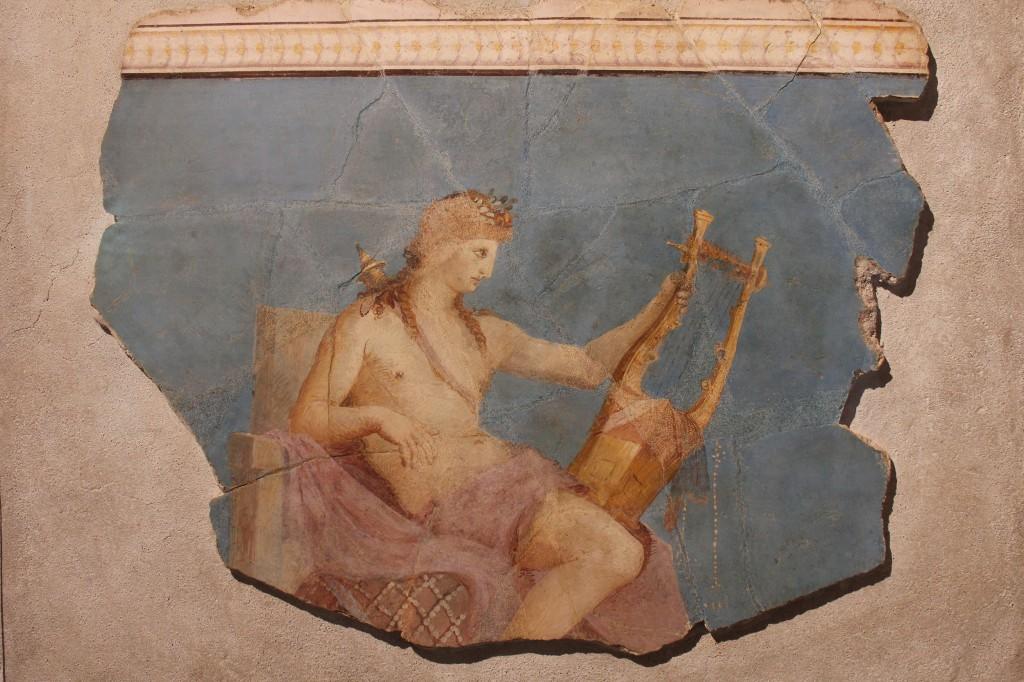 Apollo soittaa lyyraa. Seinämaalaus Palatinukselta Augustuksen aikakaudelta.