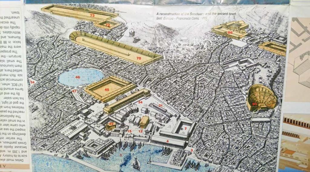 Rekonstruktio Deloksen kaupungista voimiensa päivinä. Kuvattu arkeologisen alueen esitteestä.