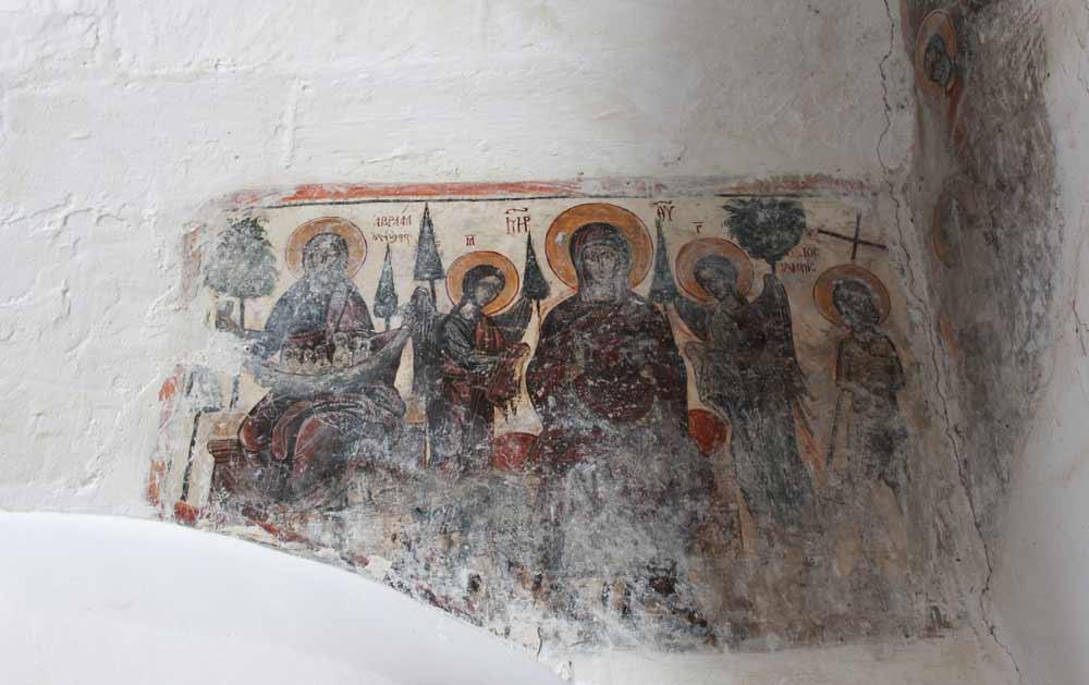Abraham paratiisissa. Fresko Agii Anargyrin kirkossa.