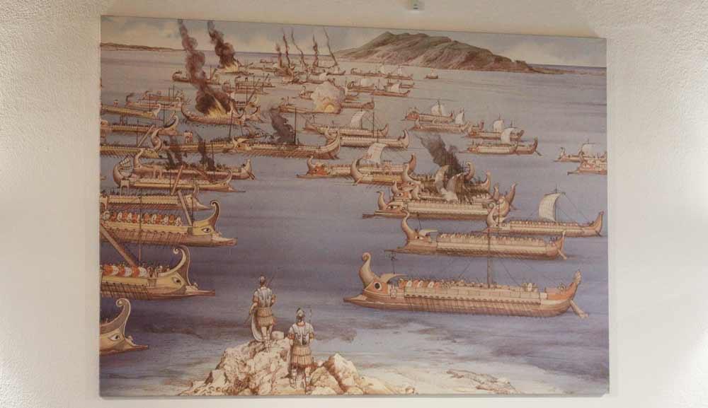 Taiteilijan näkemys muinaisesta meritaistelusta