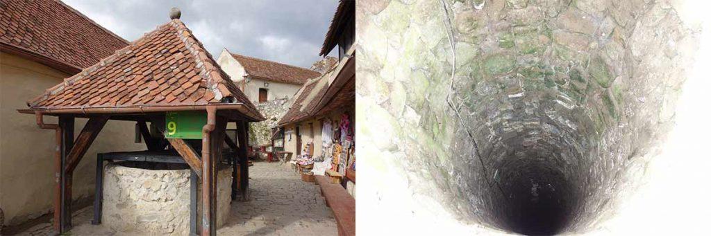 Rasnovin linnoituksen kaivo. 2 kuvaa. Ulkokuva ja kuva alas kaivoon.