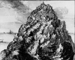 Olfert Dapperin piirustuksessa vuodelta 1703 linnavuoren vaikeasti valloitettava asema näyttäytyy varsin runollisessa ja taivaaseen ulottuvassa asussa.
