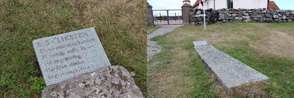 Kaksi kuvaa vierekkäin. Yksityiskohta ruumiskiven selitelaatasta ja koko ruumiskivi maassa hautausmaan aidan edustalla.
