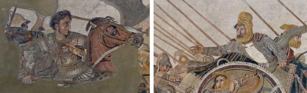 Aleksanteri ja Dareios yksityiskohtina mosaiikista.