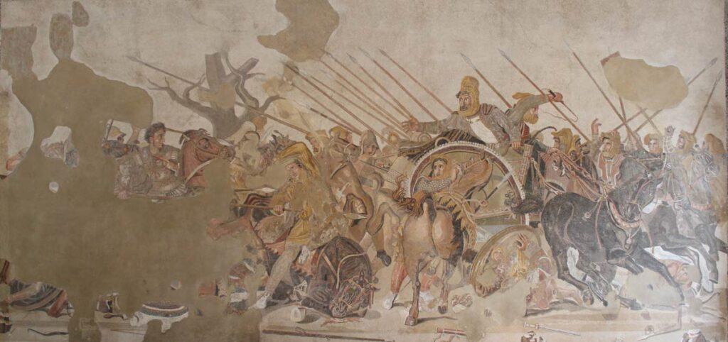 Aleksanteri Suuren ja Dareios III:n taistelua esittävä mosaiikki Napolin arkeologisessa museossa.