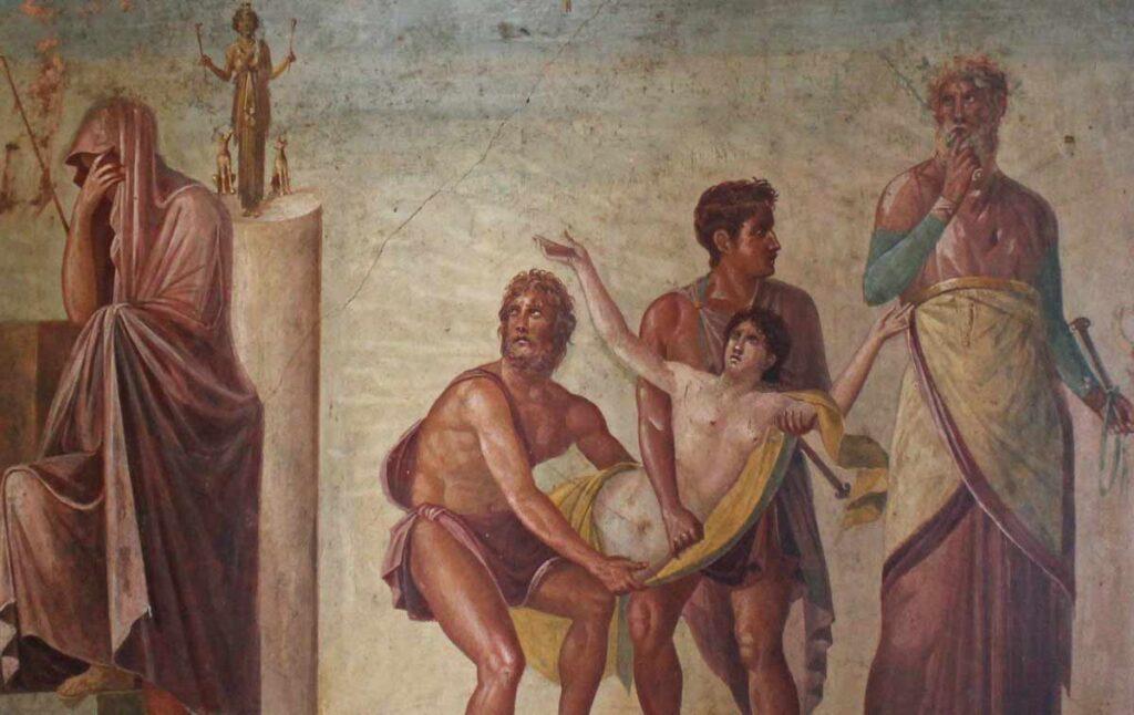 Maalaus jossa Ifigeniaa viedöön uhrattavaksi.
