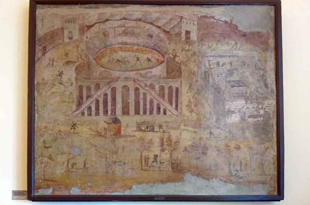 Amfiteatterilla vuonna 59 tapahtunutta kahakkaa esittävä maalaus.