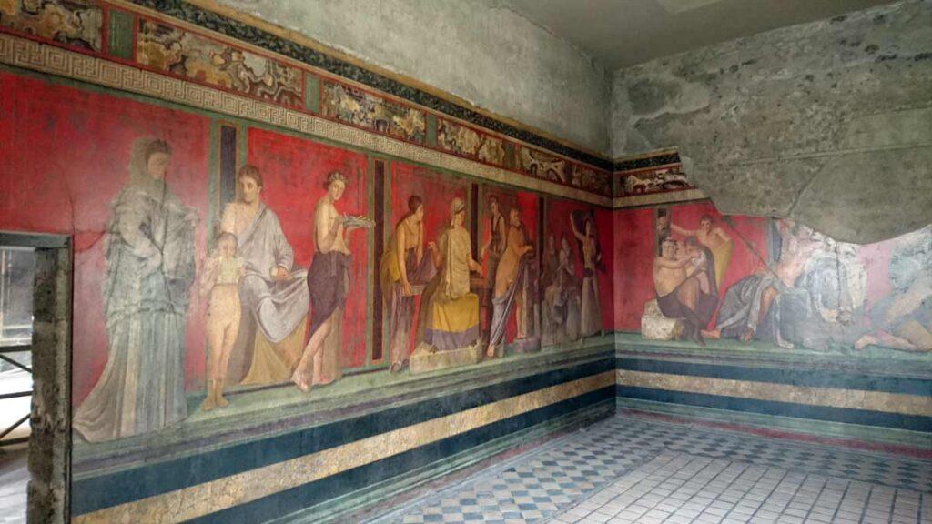 Villa dei misterin dionysoonisia kulttimenoja esittävä seinämaalaus.